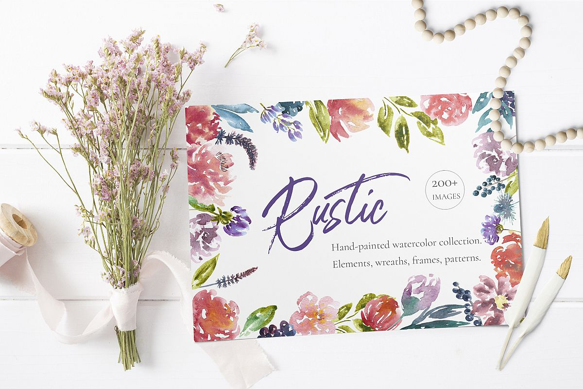 Rustic Watercolor Floral Set Example Image