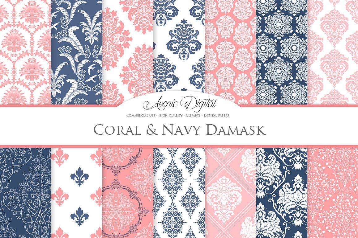 Coral and Navy Damask Patterns - Seamless Digital Papers example image 1
