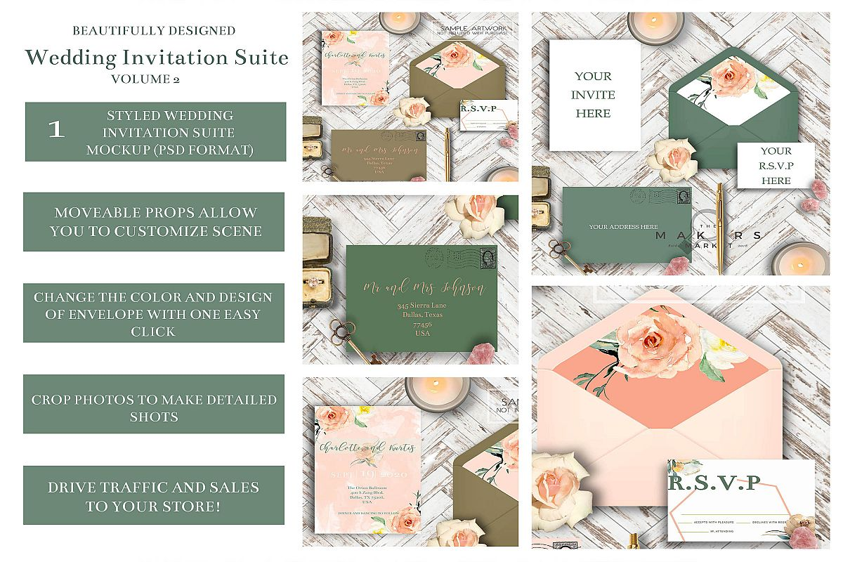 PSD Wedding Mockup/ Invitation Suite Mockup/ example image 1