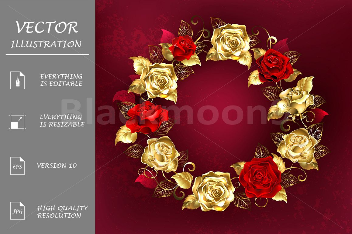 Wreath of Roses on Red Background example image 1