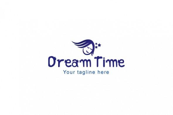Dream Time - Sleeping Kid Stock Logo Template example image 1