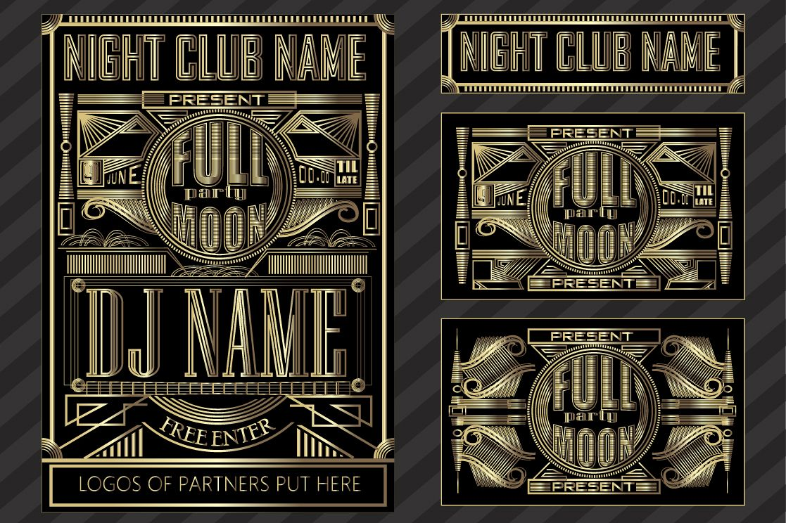 Fullmoon party art deco design. example image 1