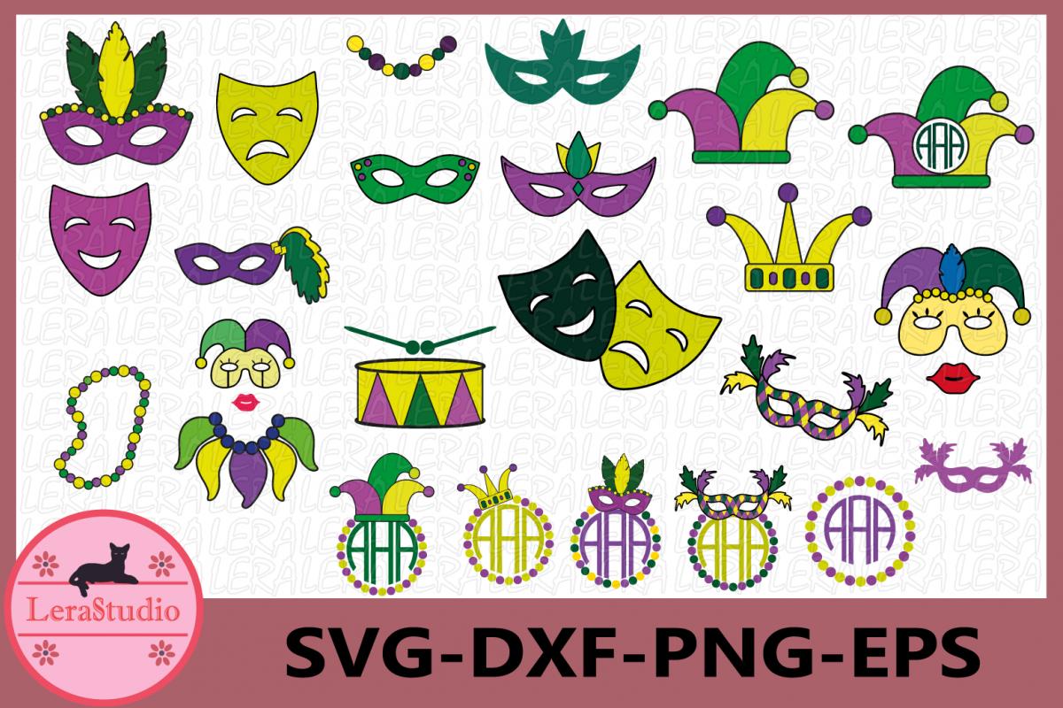 Mardi Gras Svg, Mardi Gras Clip Art, Mardi Gras Monogram example image 1