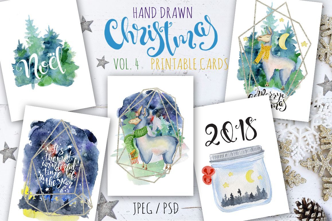 Christmas watercolor cards Vol.4 example image 1