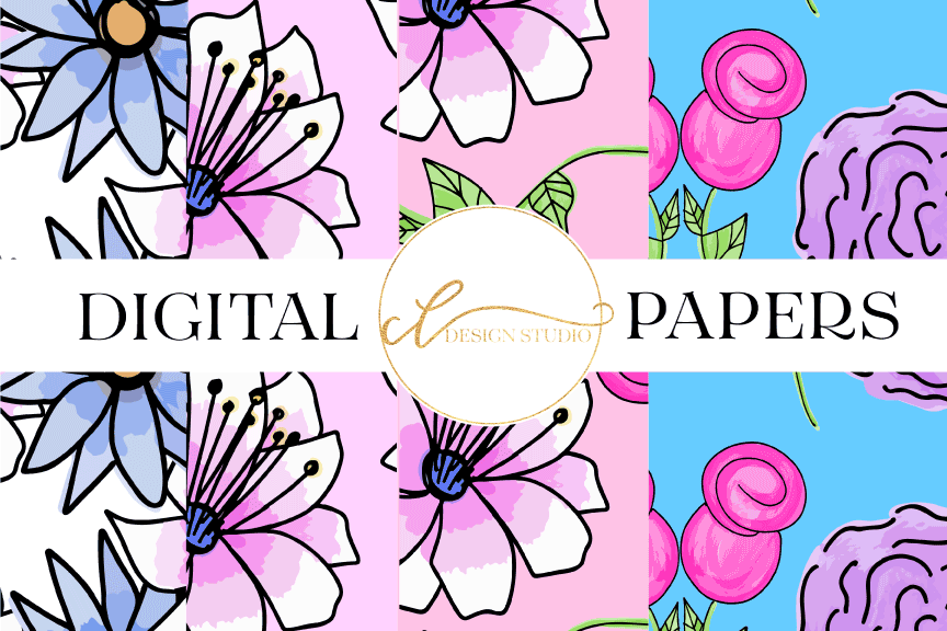 Floral Surprise Digital Papers example image 1
