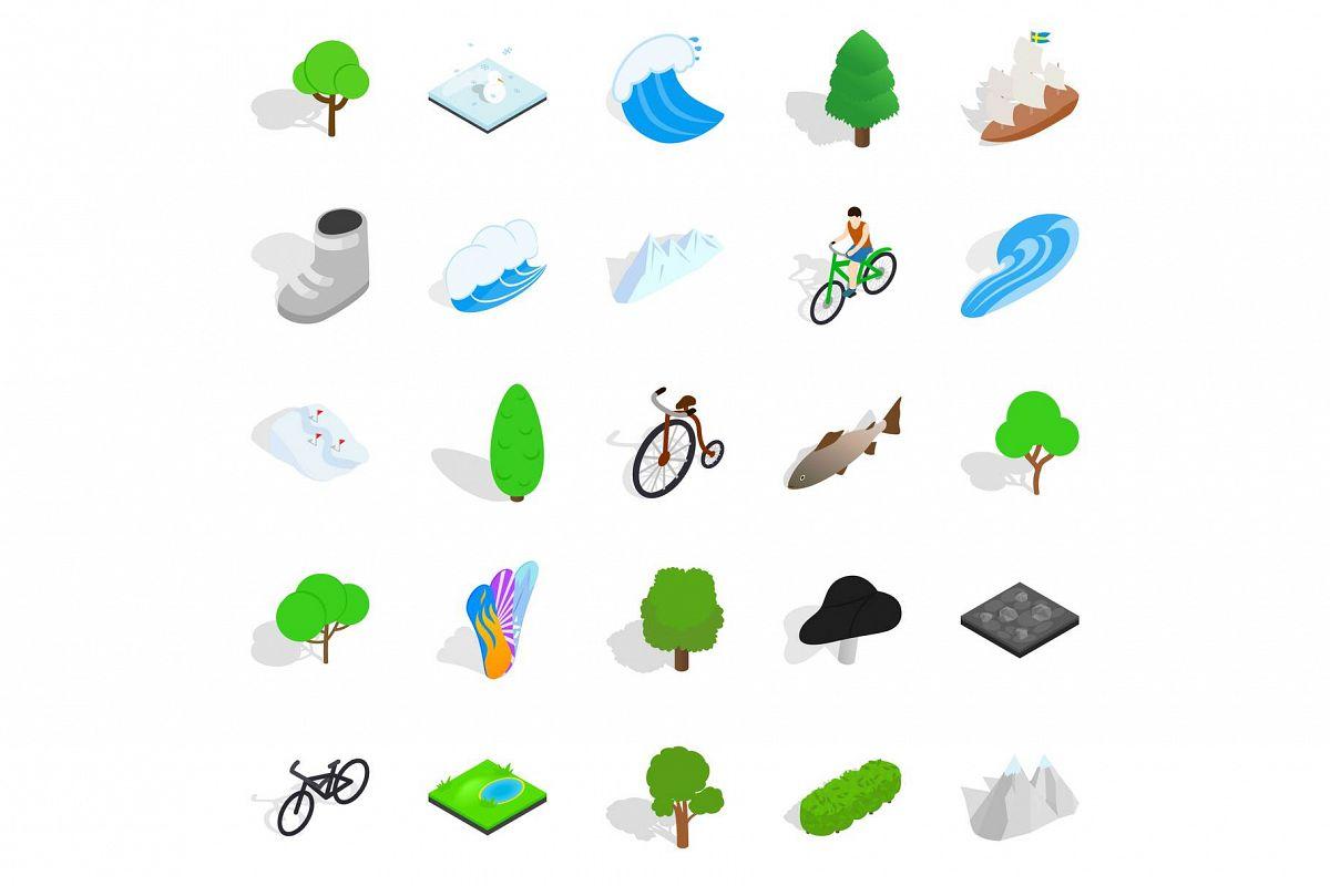 Nature icons set, isometric style example image 1
