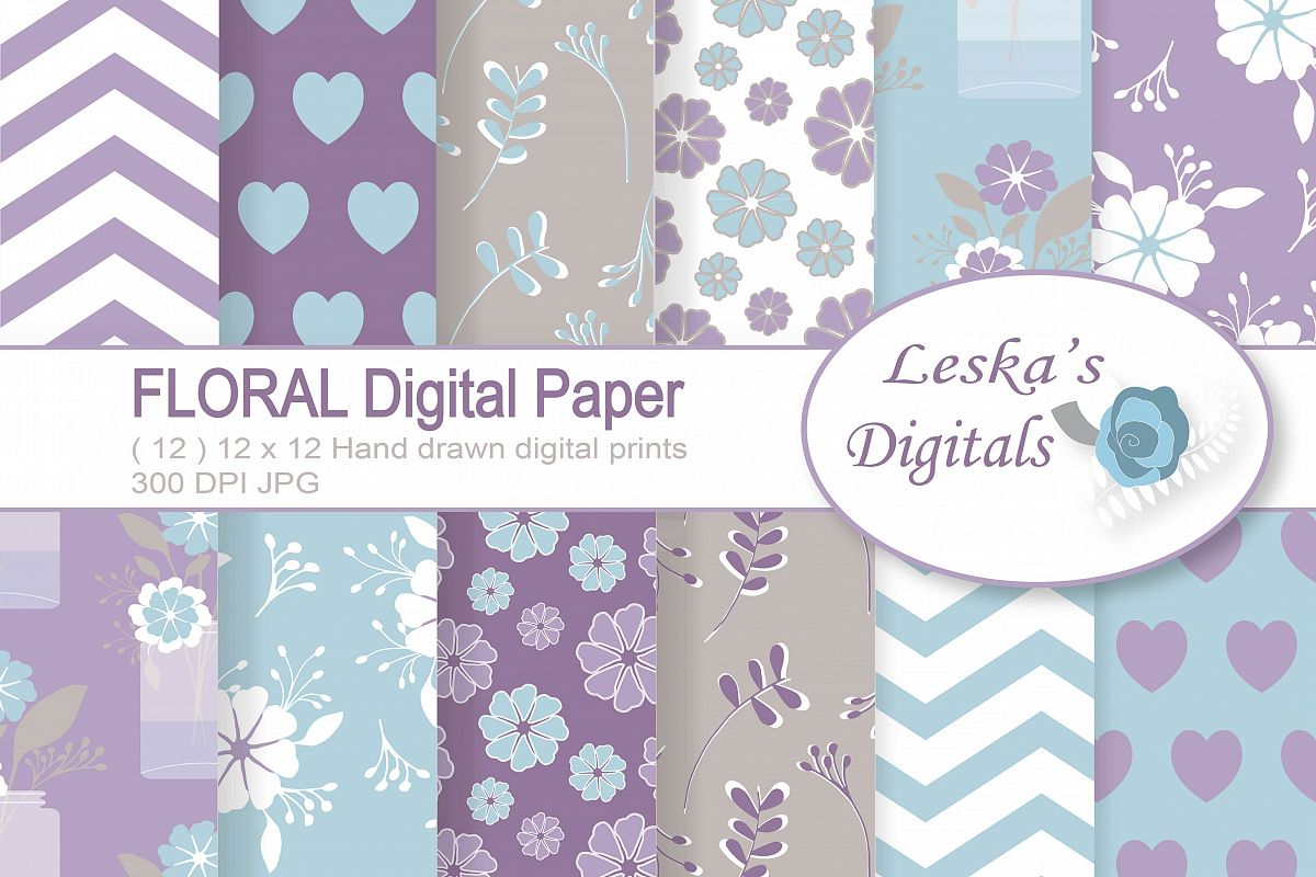Floral Digital Paper Pack in Lavender, lilac, purple example image 1