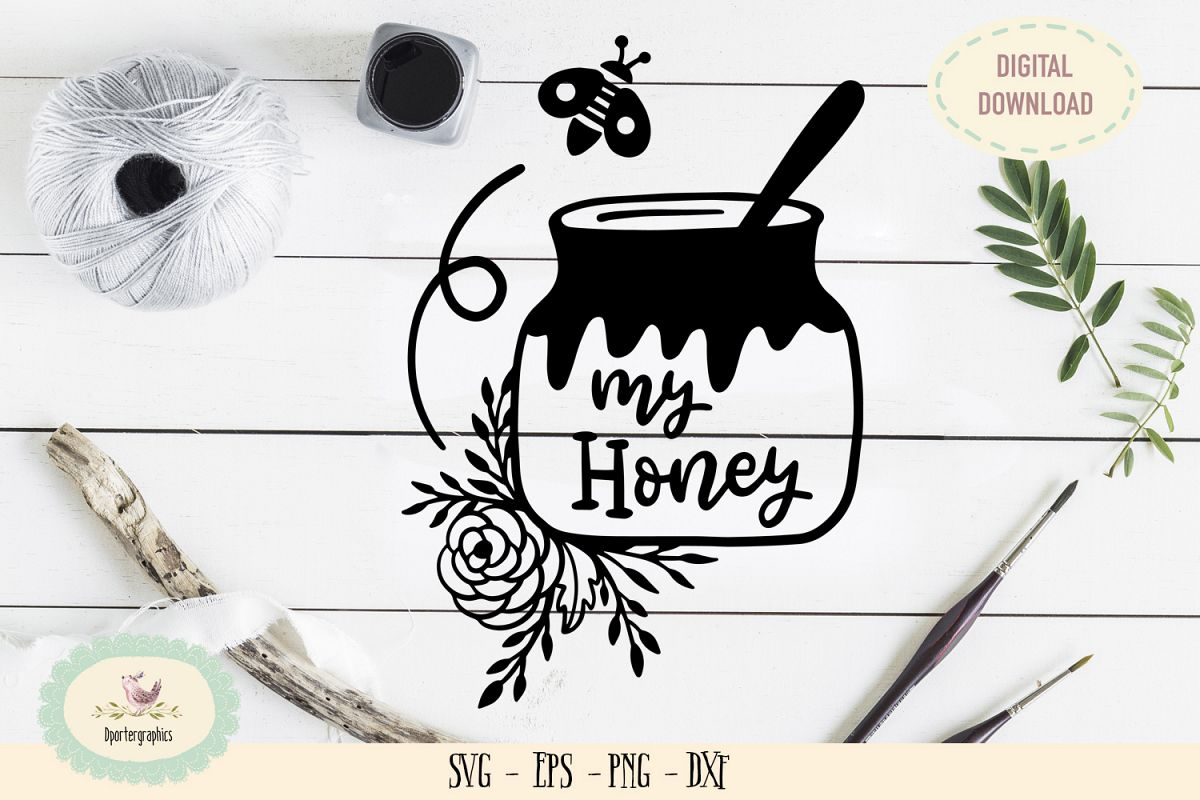 My honey bee valentine SVG PNG love quote example image 1