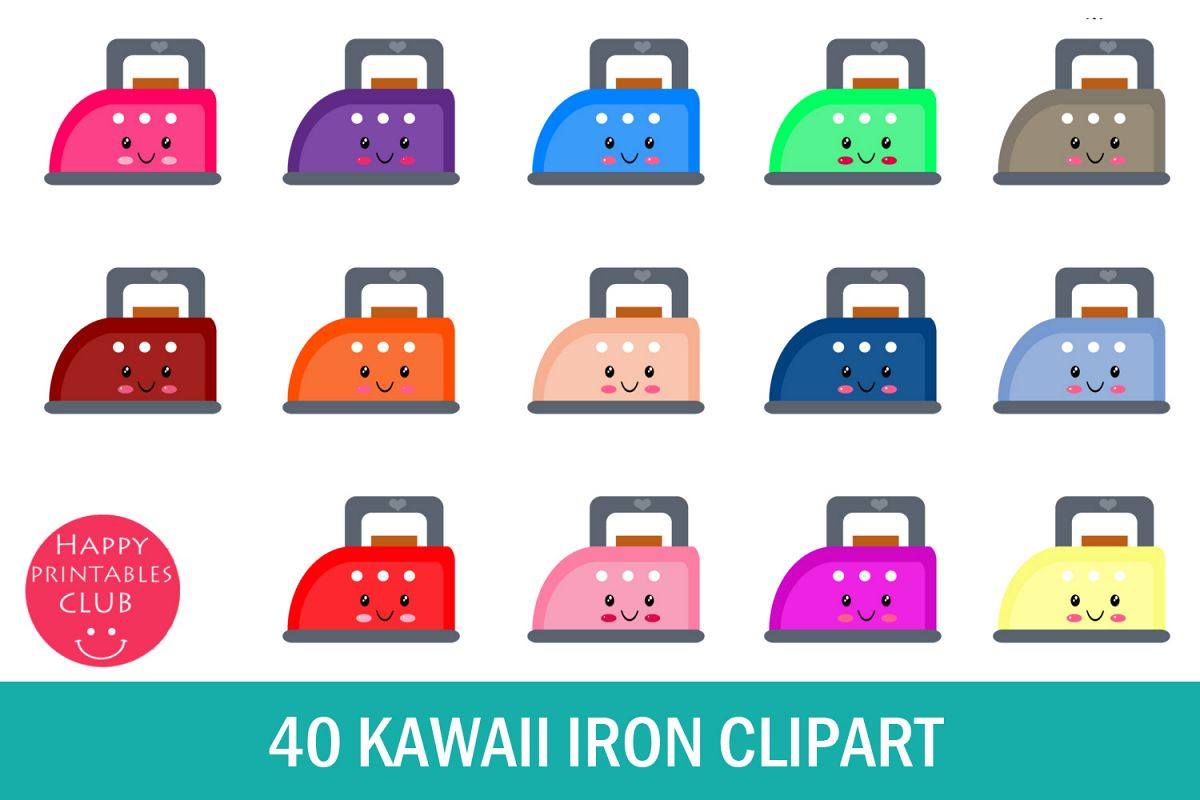 40 Kawaii Iron Clipart- Colorful Iron Clipart PNG Images example image 1