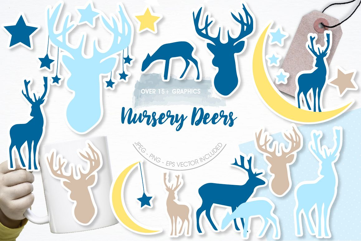 Nursery deers graphics and illustrations example image 1