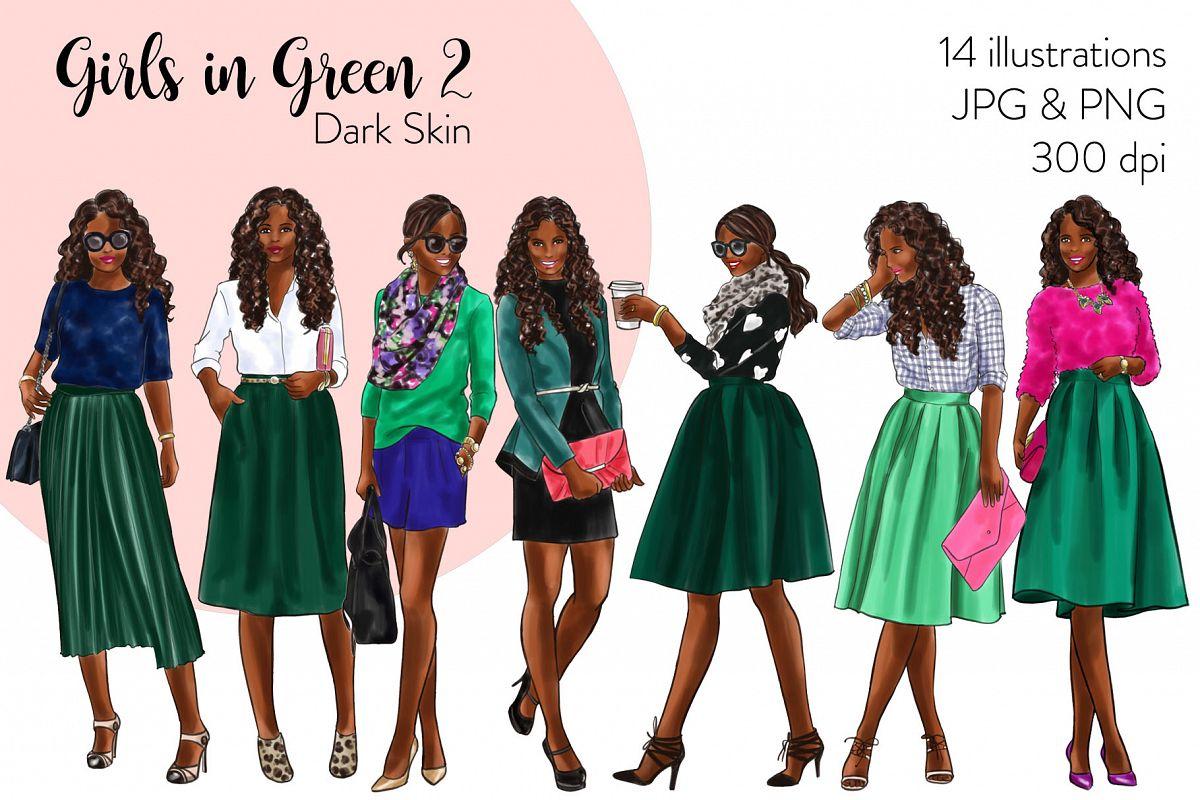 Fashion illustration clipart - Girls in Green 2 - Dark Skin example image 1