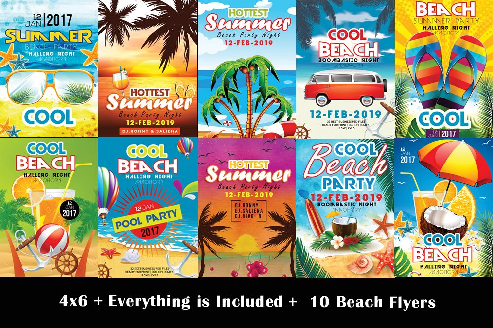 10 Summer Beach Party Flyers Bundle example image 1