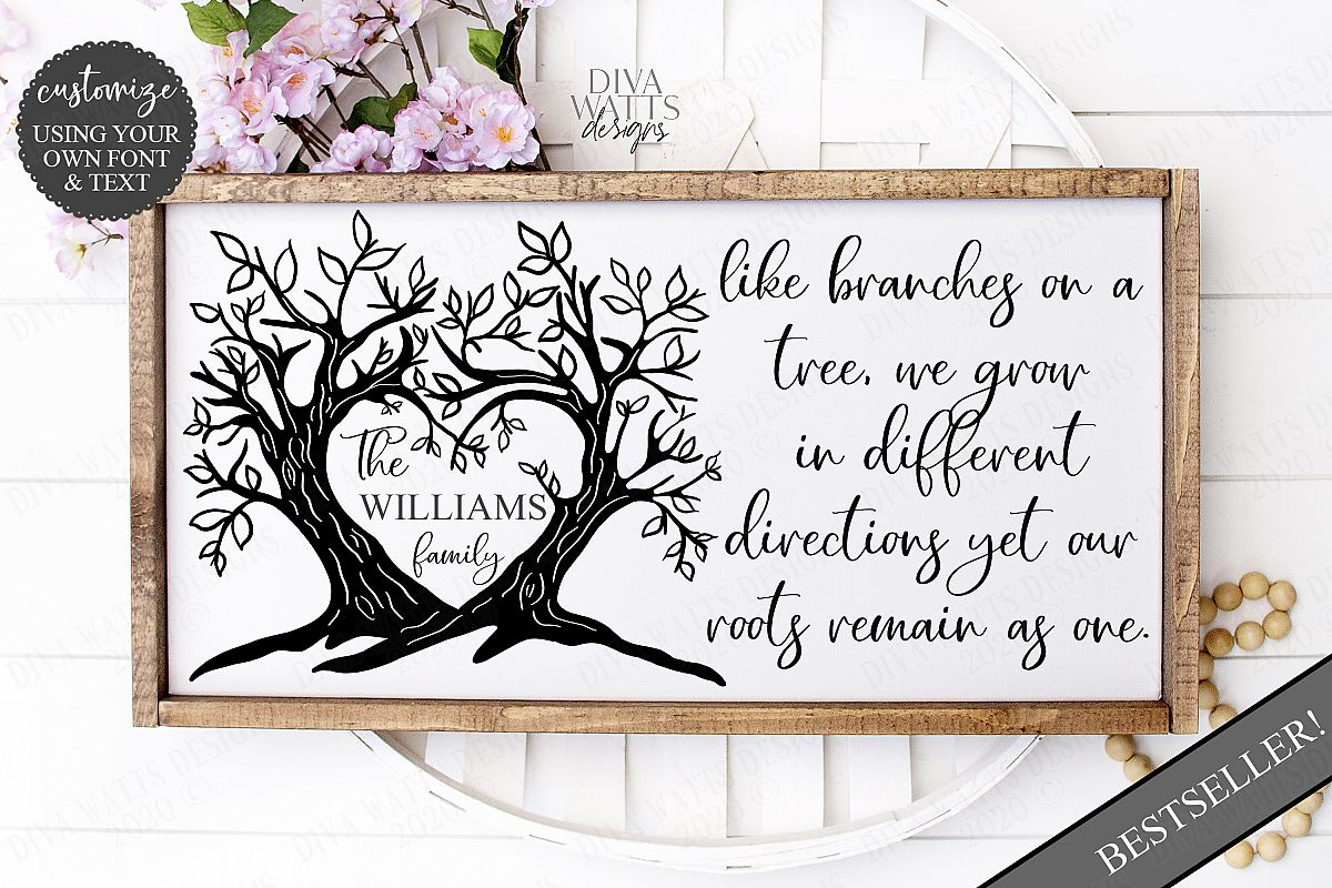Branches on a Tree Family Last Name Sign Cutting File example image 1