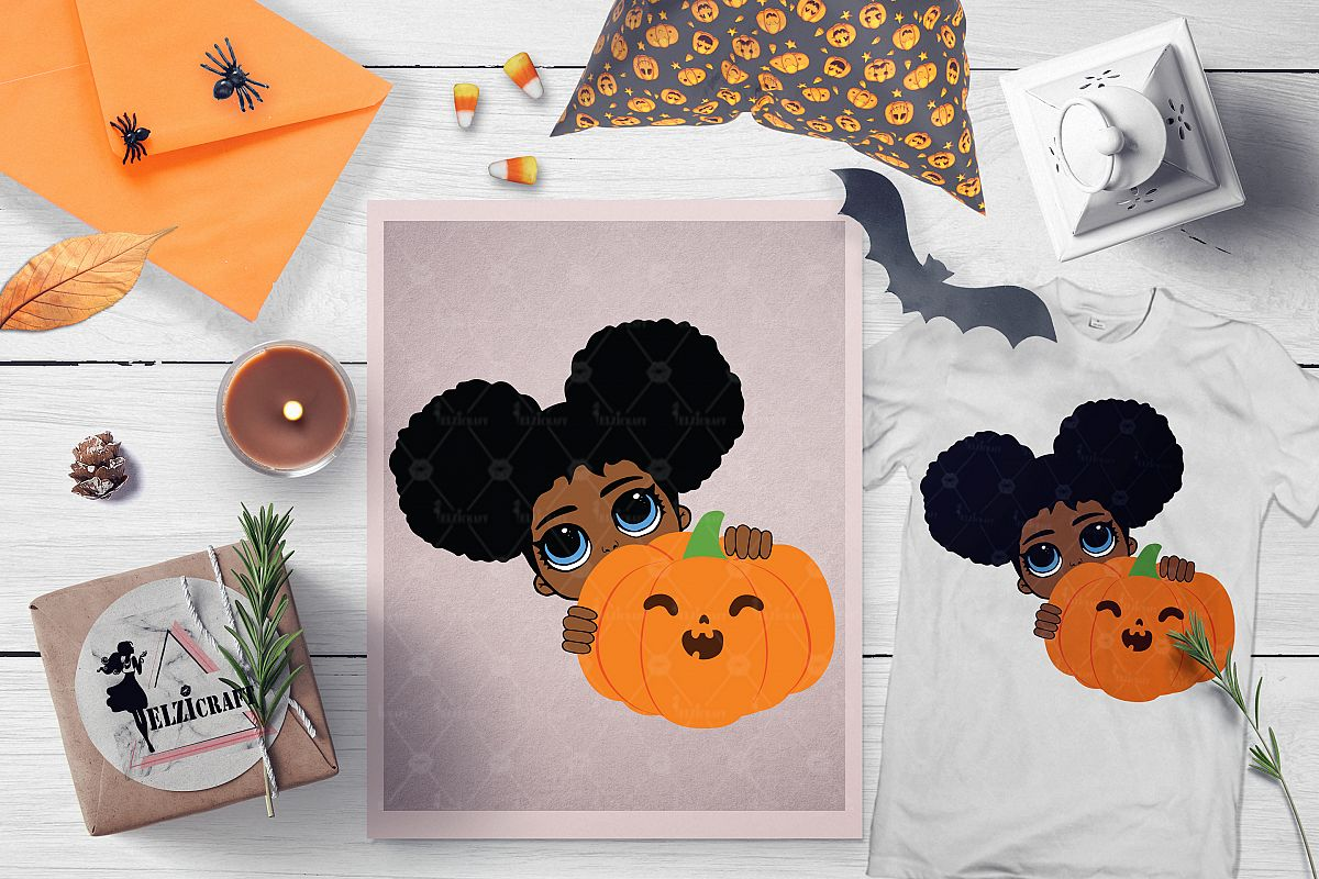 Halloween Afro Peeking Girl Pumpkin Smile SVG Cut File example image 1