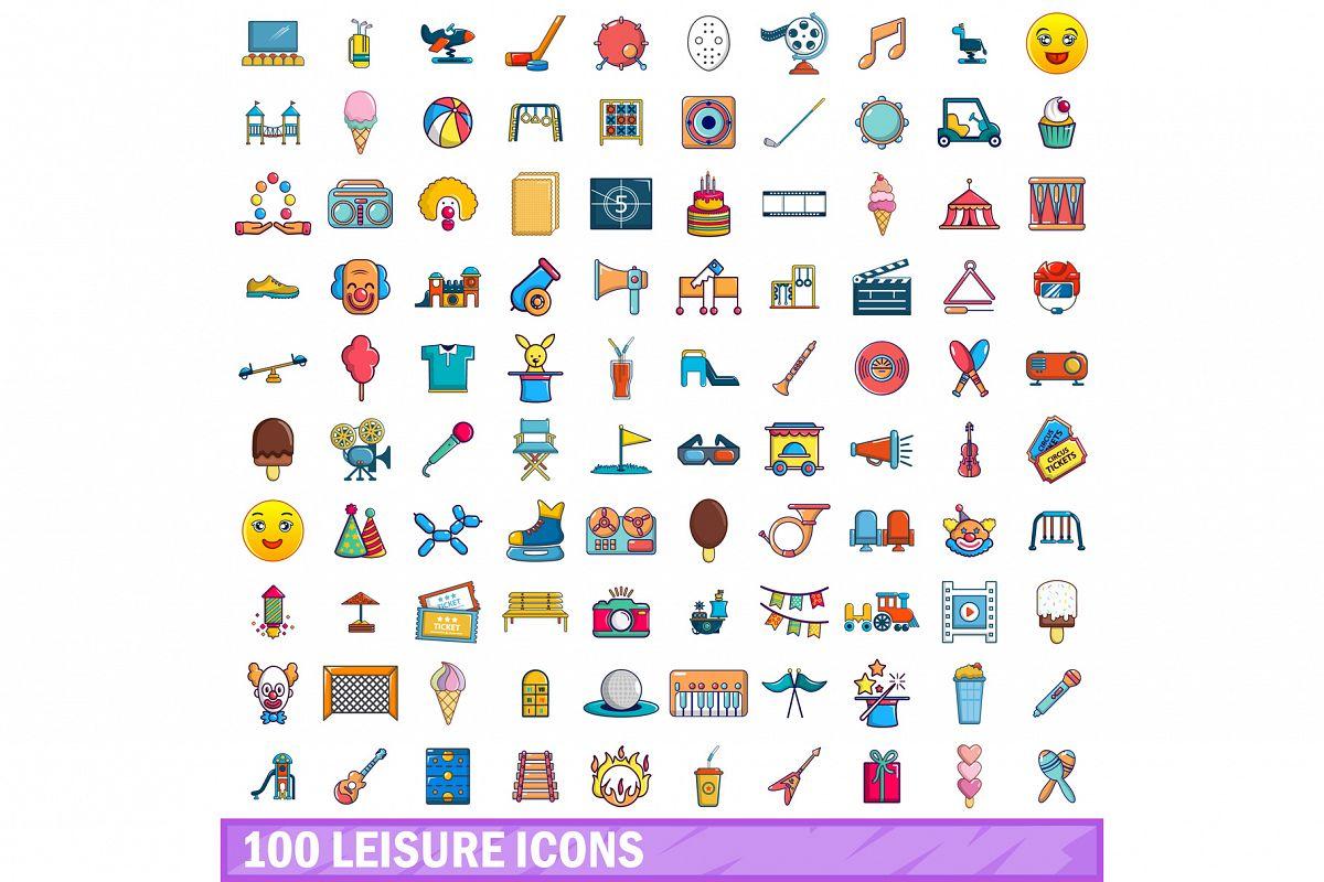 100 leisure icons set, cartoon style example image 1