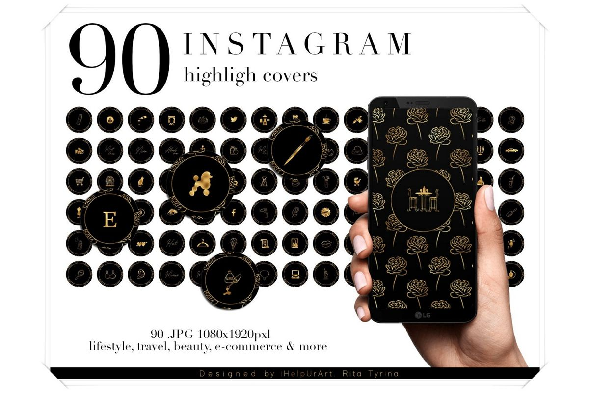 90 Instagram Story Highlight Covers - Black and Gold example image 1