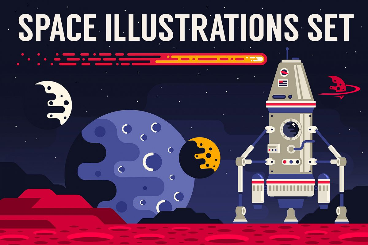 Space Flat Illustration example image 1