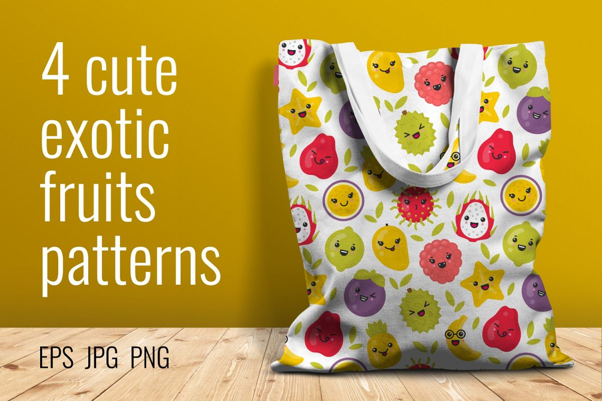 4 cute exotic fruits patterns example image 1