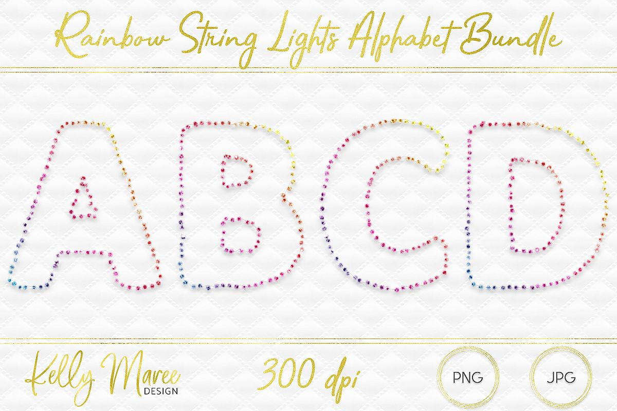 Rainbow String Lights Alphabet Graphic Bundle example image 1