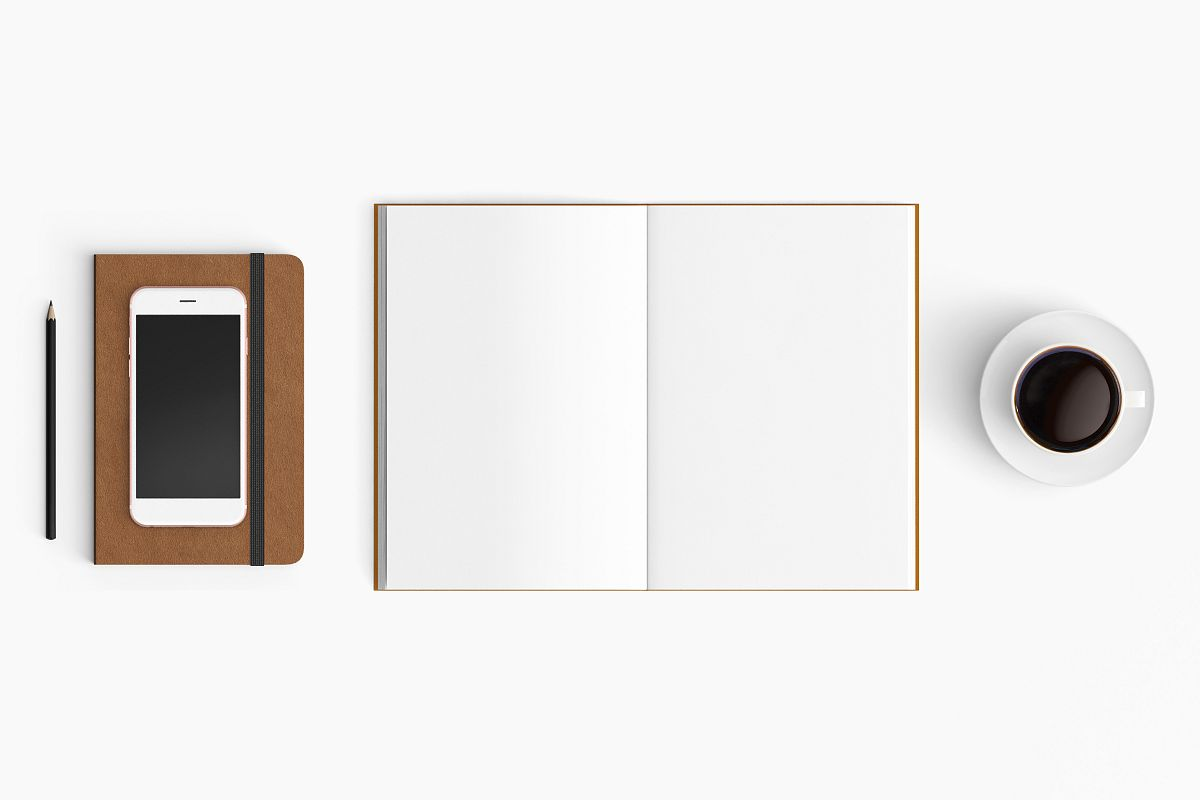 Modern workplace. Top view. Flat lay style. 30 example image 1