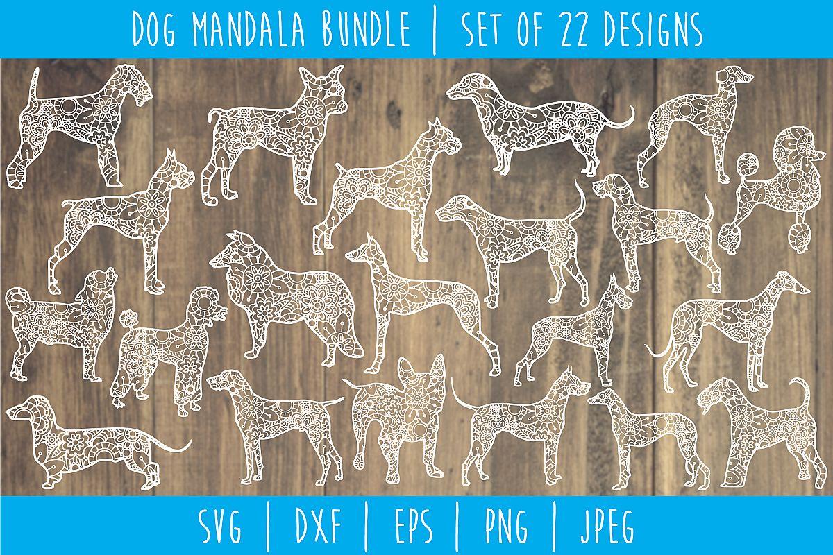 Dog Mandala Zentangle Bundle Set of 22 - SVG example image 1