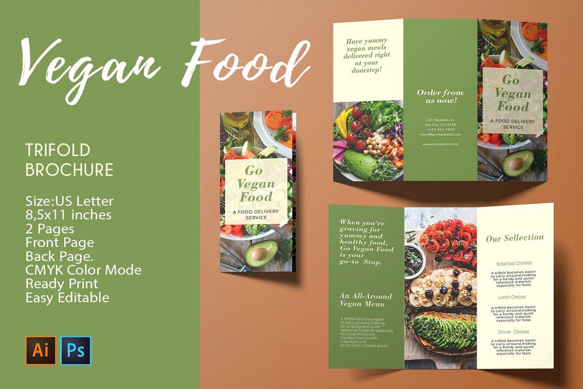 Trifold Brochure Vegan Food |2 PSDAI Templates - CMYK