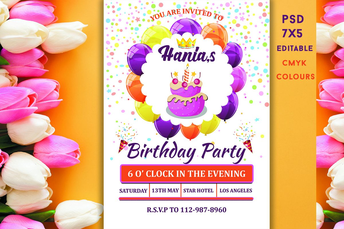 Stupendous Birthday Invitation Card 319557 Card Making Design Bundles Personalised Birthday Cards Paralily Jamesorg