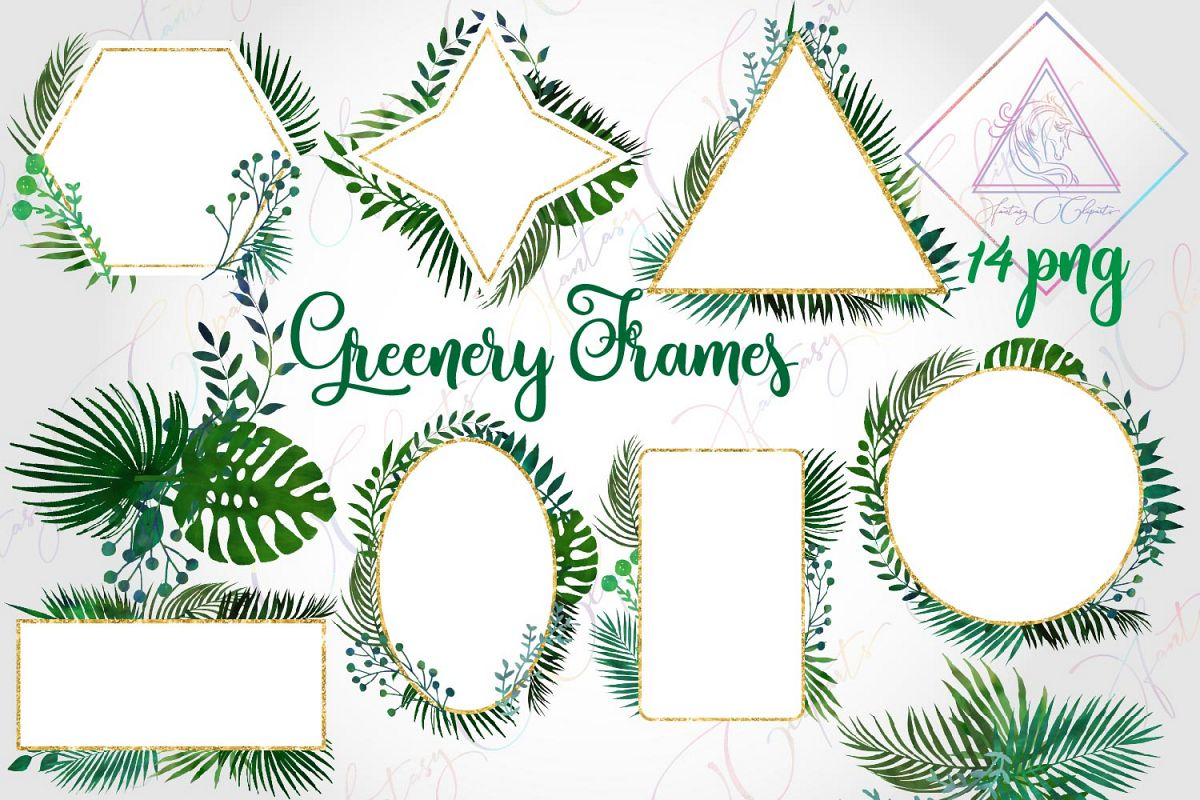 Watercolor Greenery Frames and Borders Clipart example image 1