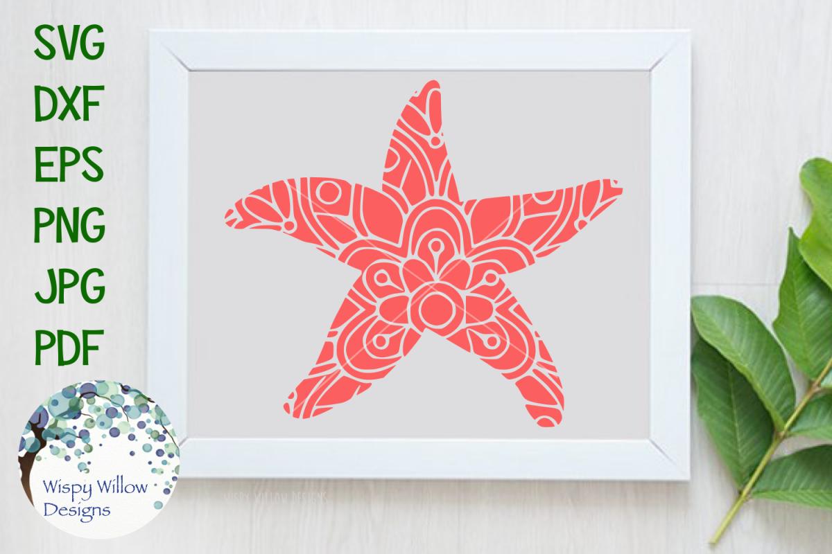 Starfish Mandala, Animal Mandala SVG Cut File example image 1