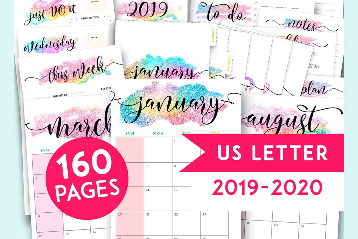 photo about Printable Binder Inserts titled 2019 Planner Printables Package deal, Binder Inserts 2019-2020