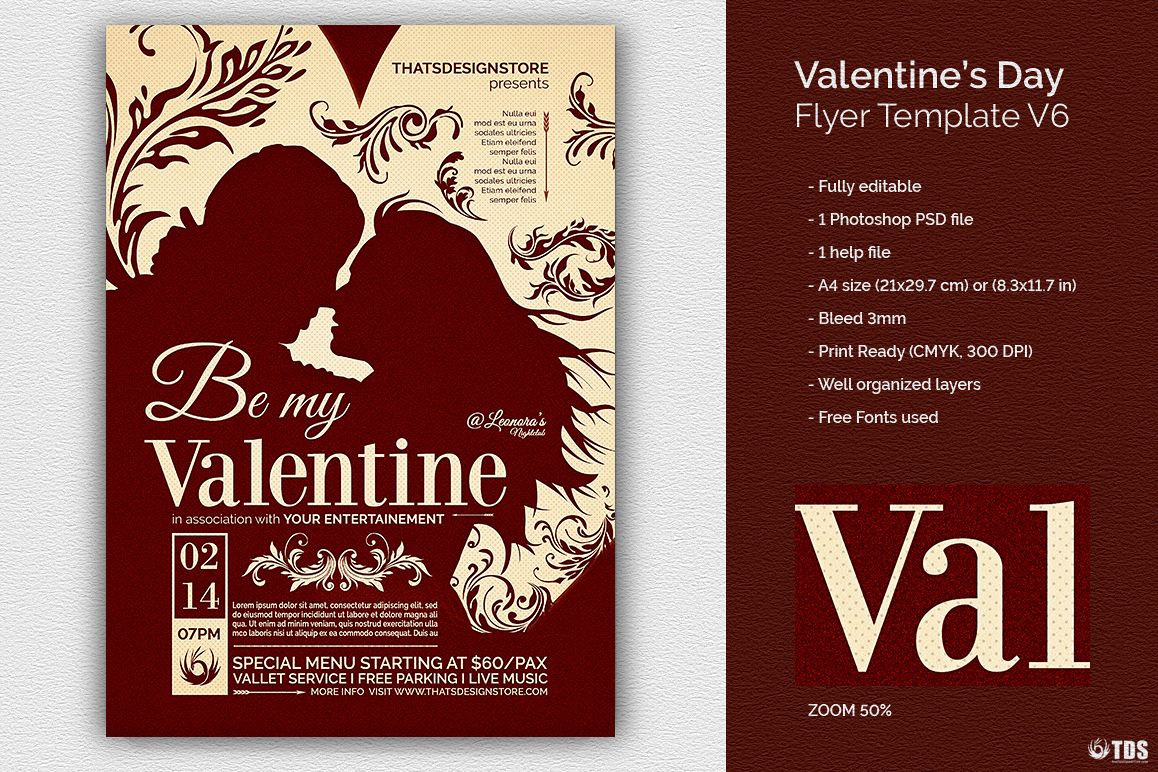 Valentines Day Flyer Template V6 example image 1