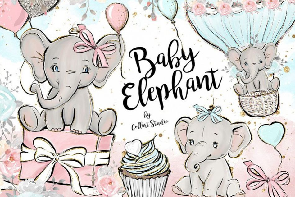 Baby Elephant clipart, Baby boy baby girl clipart, birthday example image 1