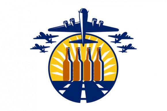 B-17 Heavy Bomber Beer Bottle Circle Retro example image 1