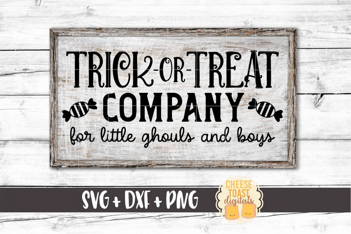 Trick Or Treat Company - Halloween Sign SVG PNG DXF Files example image 1