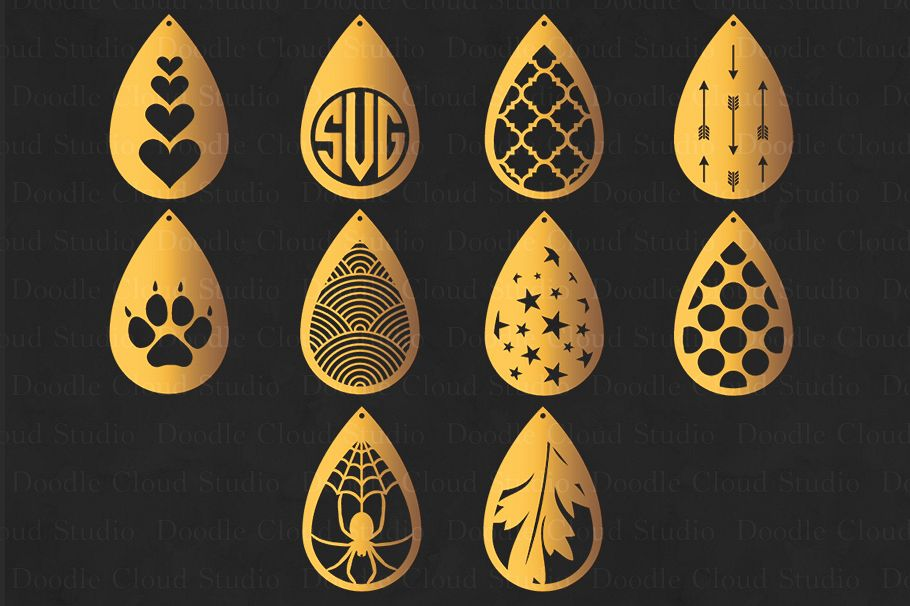 Earring template SVG, Pendant svg, Tear Drop Earrings cut files for Silhouette Cameo and Cricut. example image 1