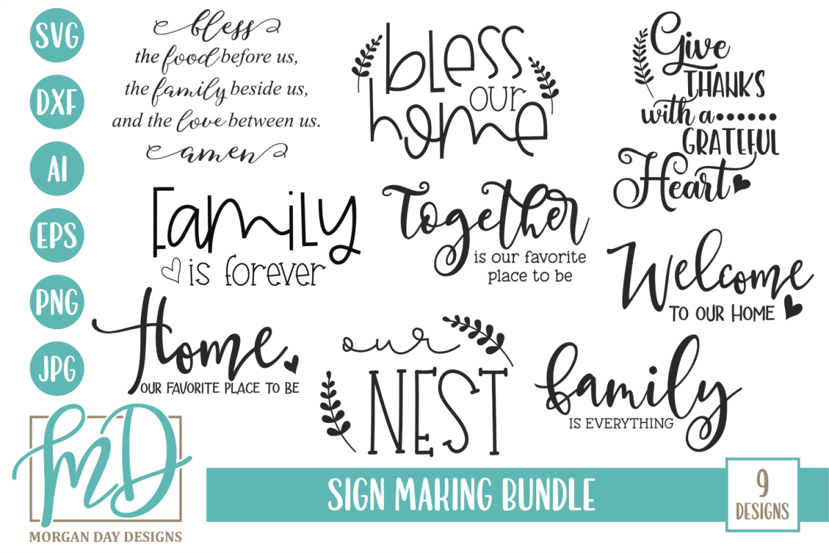 Family - Welcome - Home - Doormat - Sign Making Bundle SVG example image 1
