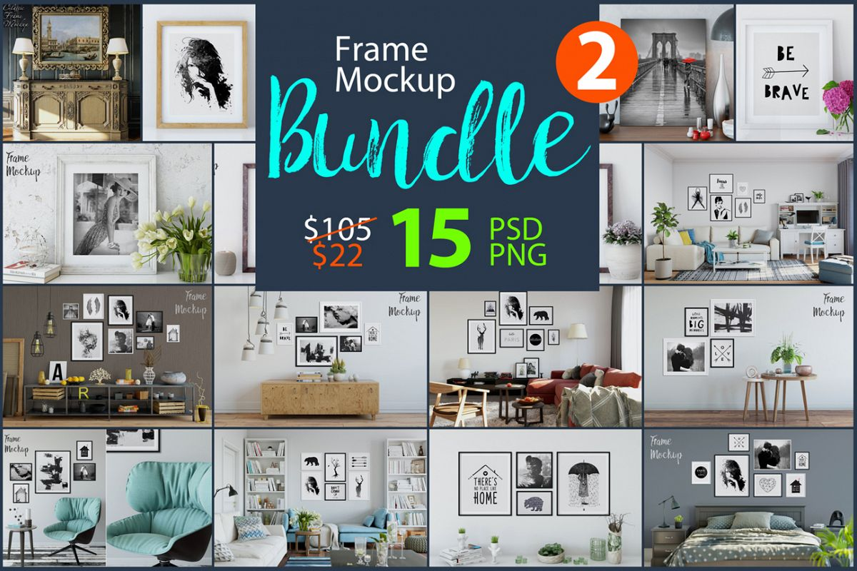 Frame Mockup Bundle Vol. 2 by Yuri-U | Design Bundles