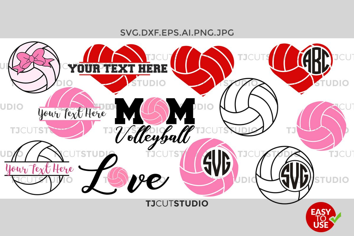 Volleyball Monogram svg, split volleyball, Love Volleyball, Mom Volleyball, Files for Silhouette Cameo or Cricut, Commercial & Personal Use. example image 1