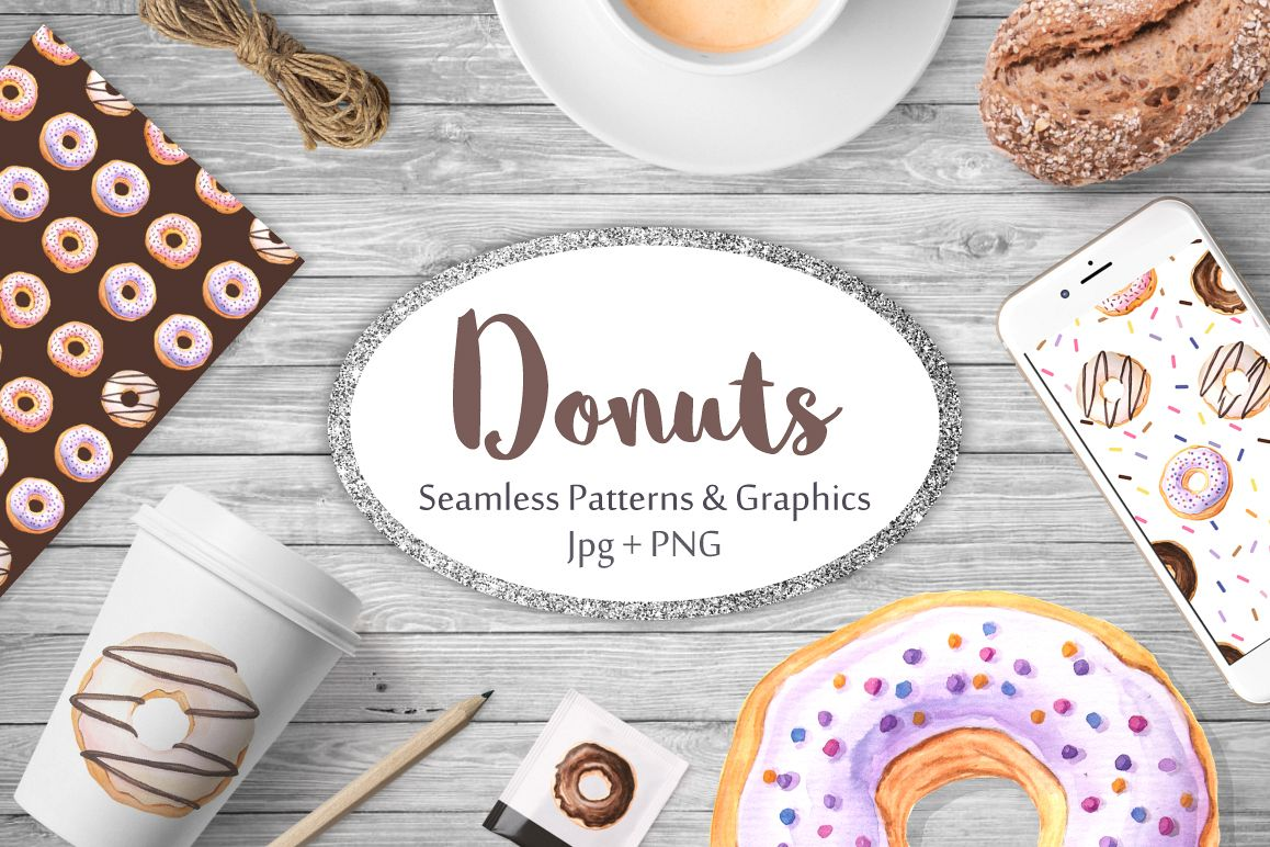 Donut Watercolor Patterns and Graphics example image 1