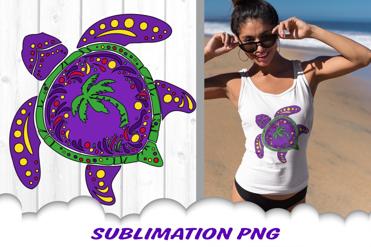 Mardi Gras Sea Turtle Palm Beach Sublimation PNG example image 1