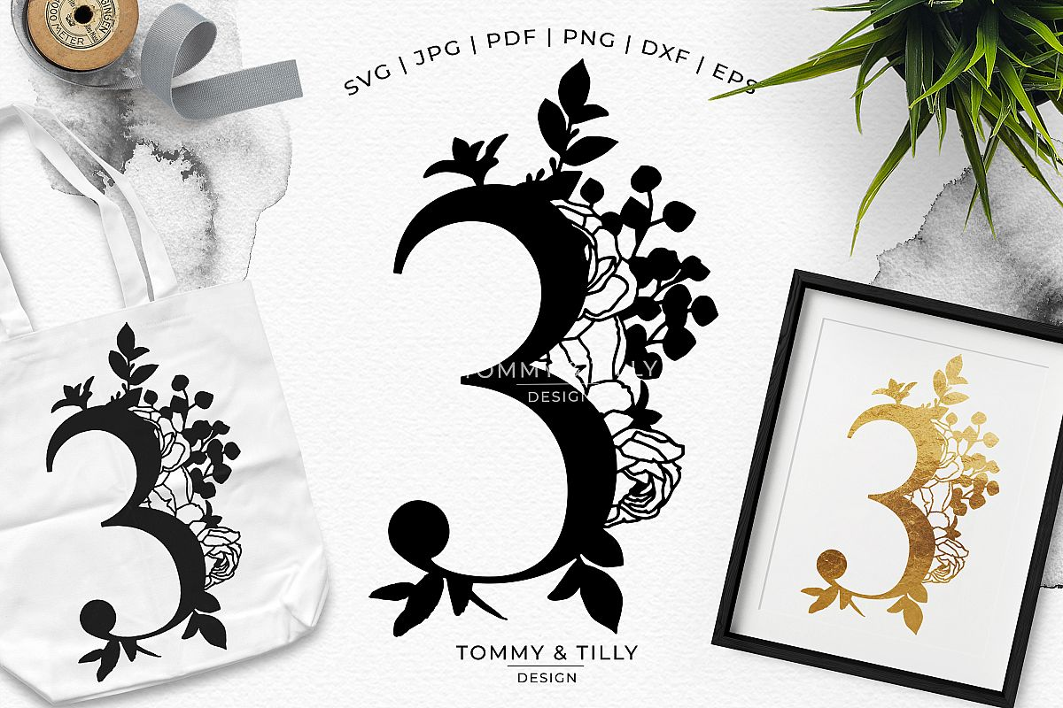 3 - Floral Bouquet Number Design - Paper Cut SVG EPS DXF PNG example image 1