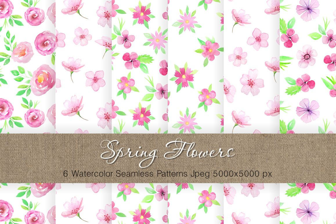 Watercolor Floral Patterns Vol.2 example image 1