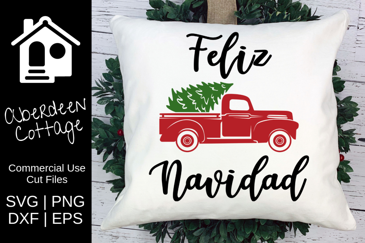 Feliz Navidad Vintage Truck SVG| PNG | EPS | DXF example image 1