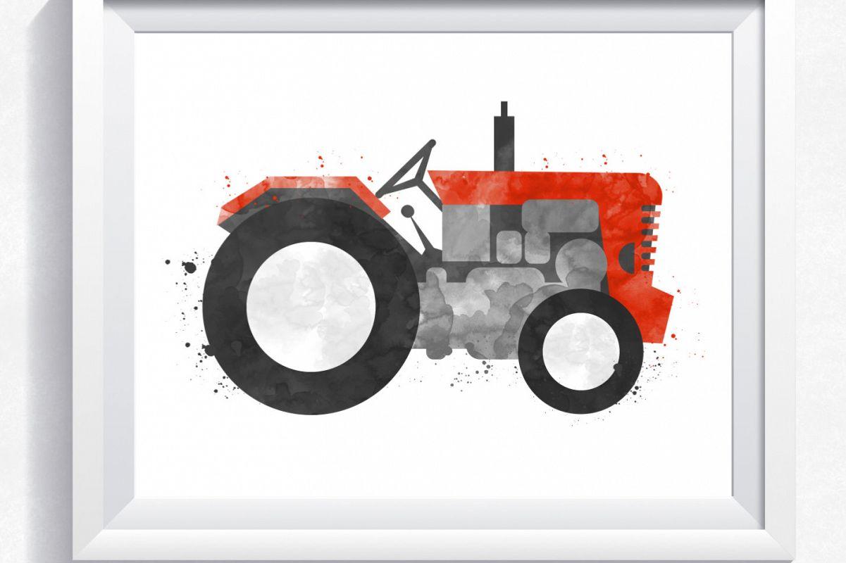 Watercolor Tractor Printable Tractor Wall Art Printable Tractor