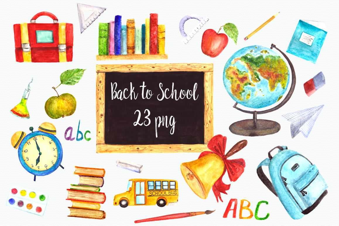 watercolor back to school clip art set design bundles rh designbundles net school clip art free images school clip art images