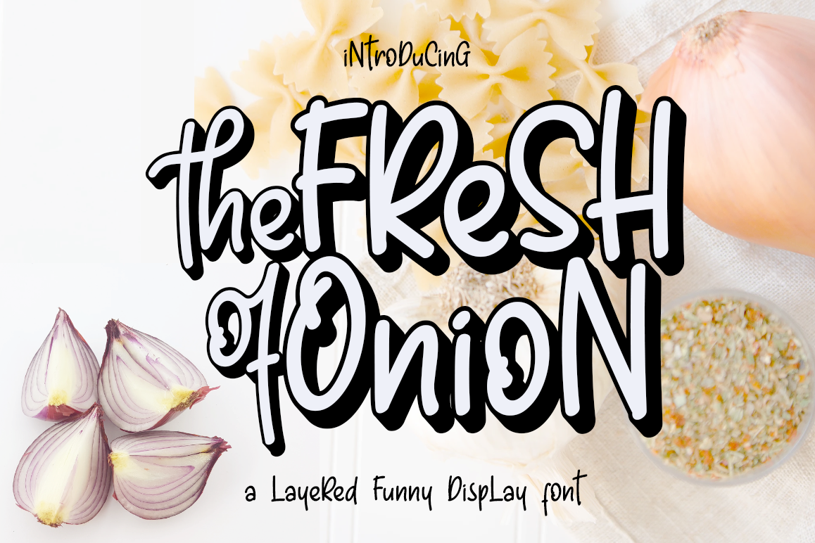 Fresh Onion // Layered Funny Display Font example image 1
