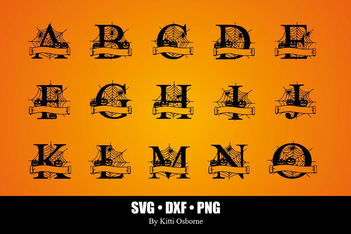 Halloween Split Monograms A-Z example image 1