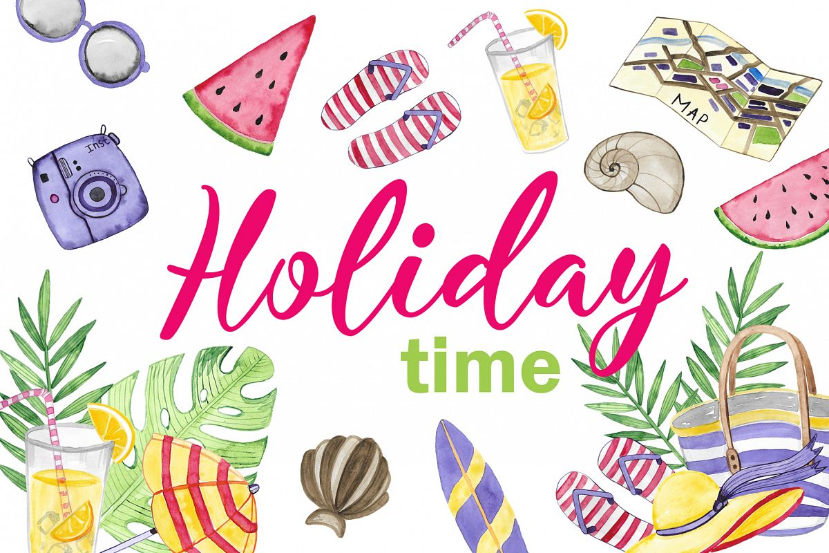 Holiday time. Watercolor set example image 1
