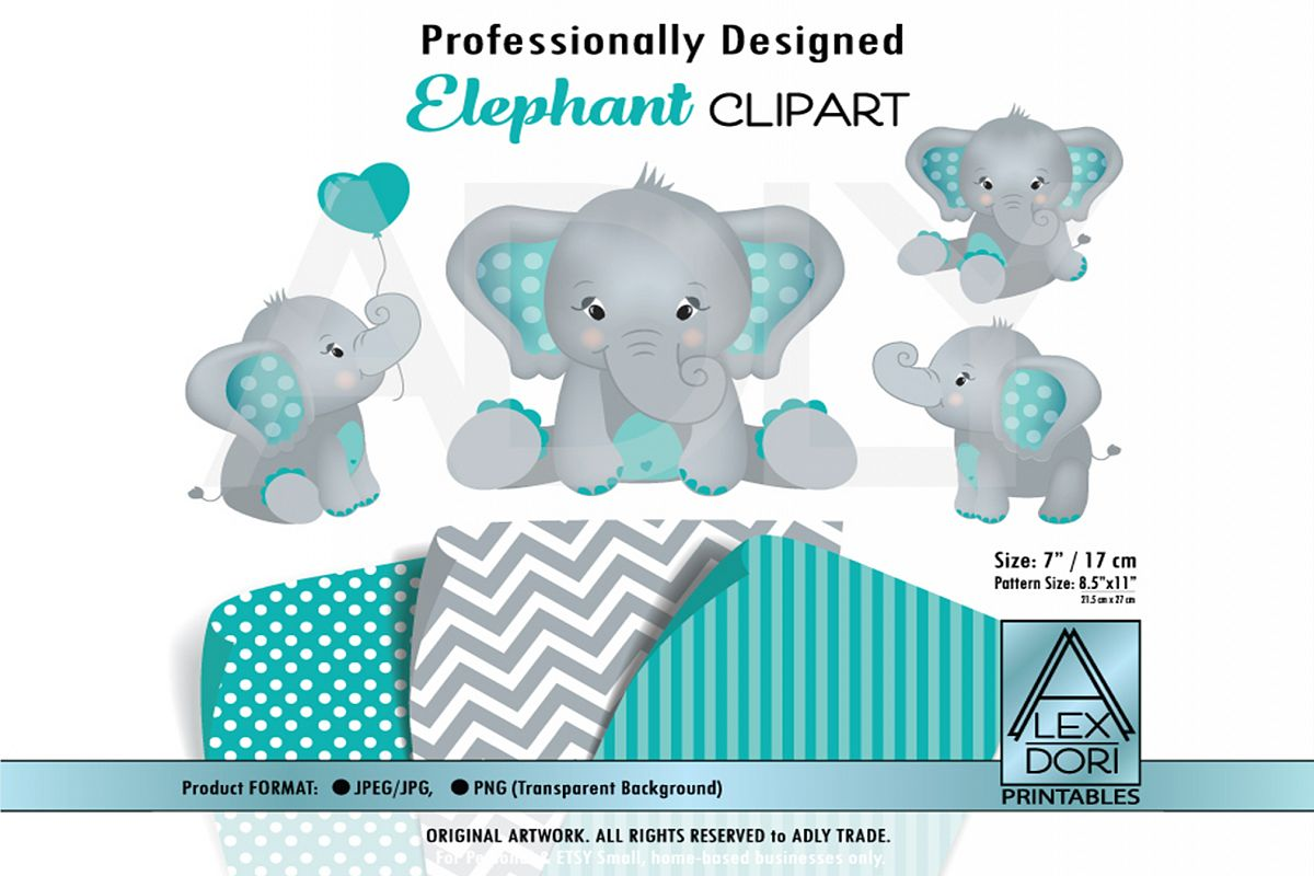 Turquoise Baby Elephant with Cute Sitting Pose Clip Art. example image 1
