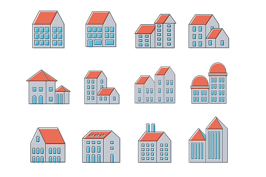 linear urban buildings icons example image 1